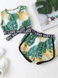 Set 2 pezzi di pantaloncini con stampa estiva da bambina
