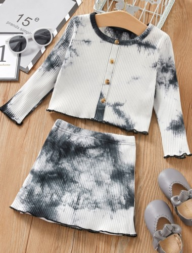 Kids Girl Spring Tie Dye 2 Piece Knit Skirt Set