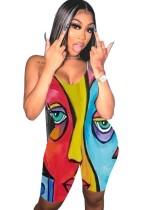 Macacão de bodycon com estampa de rosto de verão colorida