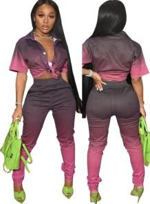Летняя блузка с градиентом и брюки с высокой талией в комплекте из 2 предметов