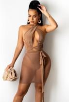 Vestido ajustado sin espalda sexy sin espalda de color caqui de verano