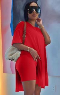 Летняя повседневная красная длинная рубашка с разрезом сбоку и байкерские шорты, комплект из 2 предметов для отдыха