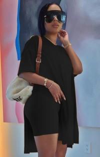 Летняя повседневная черная длинная рубашка с разрезом сбоку и байкерские шорты, комплект из 2 предметов для отдыха