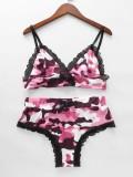 Summer Lace Patch Camou Print Rosa Zweiteilige Shorts Pyjama Set