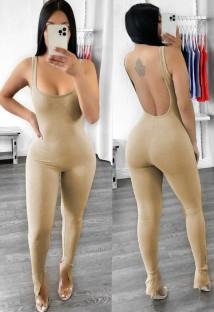 Tuta aderente a costine senza maniche color cachi sexy senza schienale estivo