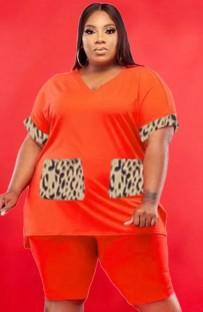 Летняя повседневная оранжевая рубашка больших размеров с V-образным вырезом и байкерские шорты, 2 предмета