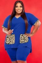 Summer Plus Size Casual Blue V-Neck Shirt y Biker Shorts Conjunto de 2 piezas