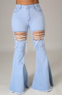 Jeans svasati a vita alta azzurri estivi