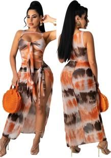 Летнее платье-накидка с вырезом и боковым разрезом с принтом