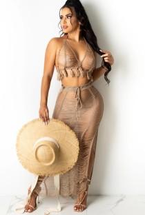 Летний коричневый рваный укороченный топ с кисточками и длинная юбка с разрезом, трикотажное прикрытие, комплект из 2 предметов
