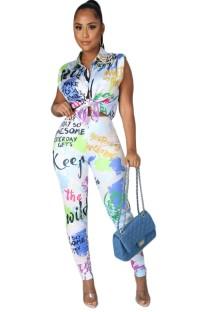 Klassieke retro blouse en broek met zomerprint, 2-delige set
