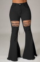 Summer Black High Waist Lace-Up Flare Jeans