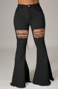 Zomer zwarte hoge taille flare jeans met veters