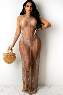 Zomerbruine gebreide geripte lange jurk cover-up