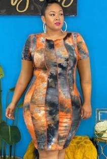 Летнее облегающее платье миди больших размеров с принтом тай-дай