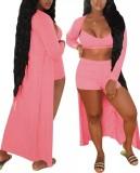 Summer Pink Conjunto de pantalones cortos casuales de 3 piezas