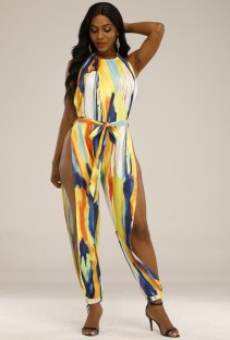 Summer Colorful Sexy Side Slit Halter Jumpsuit