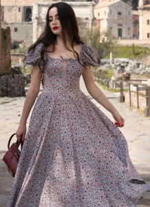 Summer Classy Floral High Slit Square Vintage Long Dress