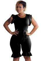 Macacão de bodycon com babados pretos de verão com cinto