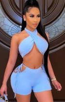Summer Sexy Blue Twist Crop Top y conjunto de pantalones cortos recortados