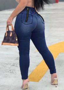 Calça jeans com zíper apertado sexy de cintura alta azul escuro verão