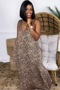 Summer Africa Leopard Print Strap Long Dress