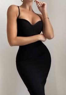 Vestido de tubo con correa negra de verano con clase