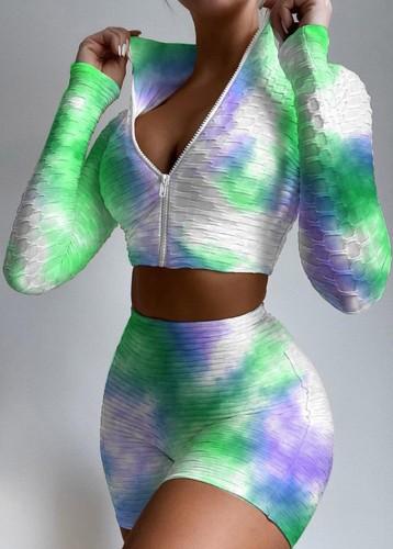 Summer Sports Tie Dye - Ensemble haut court à fermeture éclair à manches longues et short taille haute