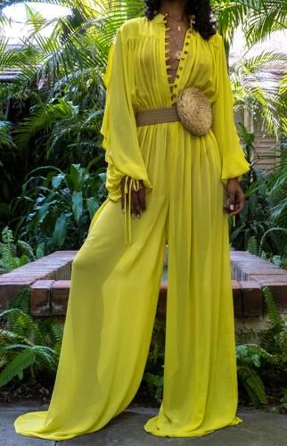 Combinaison ample jaune transparente d'été sexy à manches longues