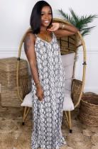 夏アフリカスネークスキンストラップロングドレス
