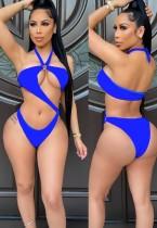 Sommerblaue sexy O-Ring einteilige Neckholder-Badebekleidung
