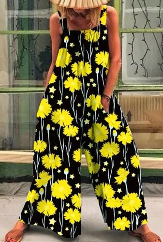 Combinaison d'été décontractée à imprimé floral à larges bretelles