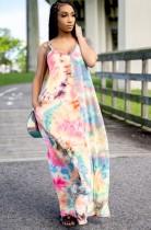 夏のアフリカ絞り染めストラップロングドレス