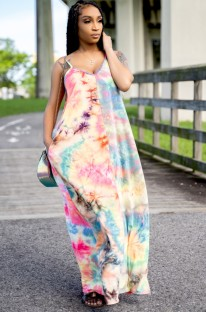 Summer Africa Tie Dye Strap Long Dress