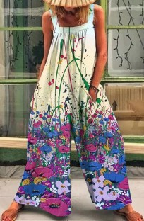Summer Casual Floral Print Wide Strap Loose Jumpsuit