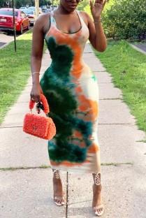 Vestido apertado verão Tie Dye Africa