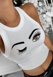 Camiseta de alça branca com decote em O com estampa de verão