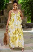 Summer Plus Size Tie Dye Strap Langes Maxikleid