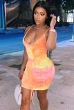 Summer Tie Dye Rüschensaiten Riemen Mini Bodycon Kleid