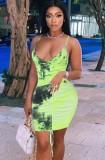 Summer Tie Dye Ruched Strings Strap Mini Bodycon Dress