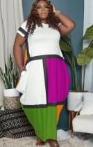 Vestido largo maxi largo de color bloque casual de verano de talla grande