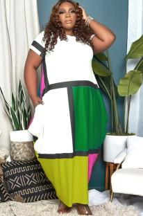 Maxi abito lungo estivo taglie forti casual color block