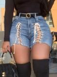 Pantalones cortos de mezclilla de cintura alta azul cielo con cordones sexy de verano