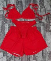 Set 3 pezzi di reggiseno e pantaloncini rossi sexy estivi