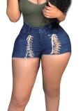 Pantalones cortos de mezclilla de cintura alta azul oscuro con cordones sexy de verano