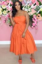 Vestido largo con tirantes naranjas y casuales de verano