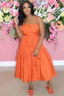Vestido longo casual de verão em linha A laranja com alça