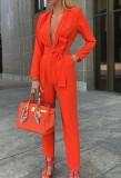 Tuta formale a maniche lunghe con scollo profondo rosso di classe primaverile con cintura abbinata