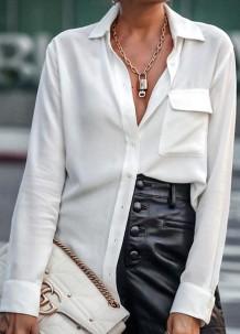 Lente stijlvolle witte blouse met lange mouwen