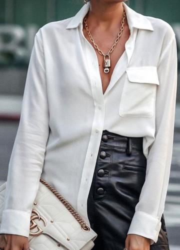 春の高級感のある白い長袖ブラウス